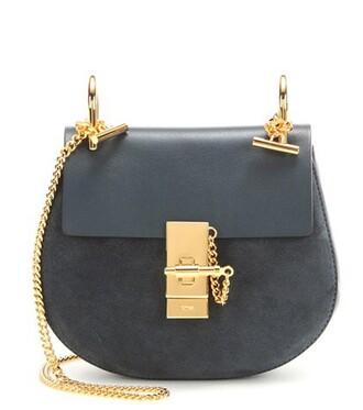 mini bag shoulder bag leather suede blue