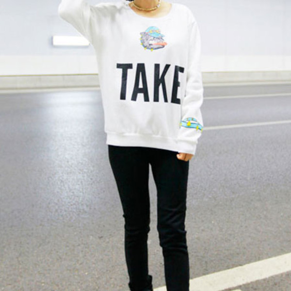 sweater sweatshirt cute cartoon white