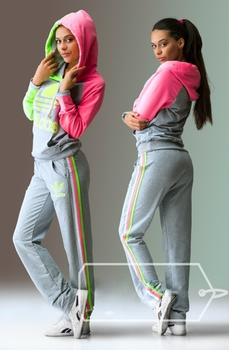 jumpsuit adidas grey sweater grey grey sweatpants pants hoodie jacket pink yellow neon tracksuit sportswear nice