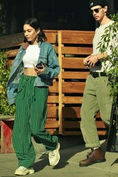 pants,stripes,vanessa hudgens,celebrity,casual,streetstyle,denim jacket