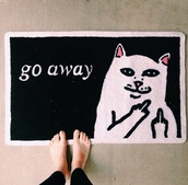home accessory,home decor,doormat,cats,go away,middle finger,carpet,black,rug