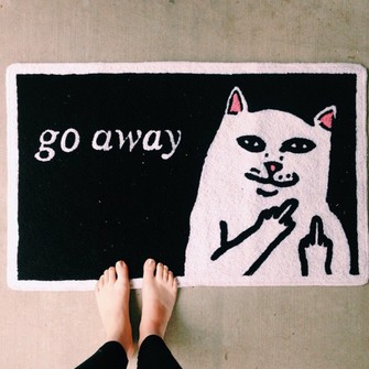 middle finger cats home accessory home door mat go away the middle