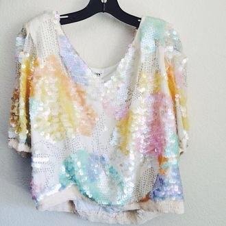 top pastel sparkle white top sequins crop tops pastel pink crop