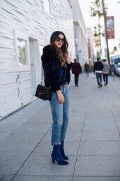 jacket,tumblr,printed fur jacket,fur jacket,faux fur jacket,denim,jeans,blue jeans,cropped jeans,boots,blue boots,ankle boots,high heels boots,velvet,velvet shoes,velvet boots,bag,black bag,sunglasses