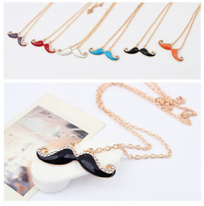 Fashion moustache necklace rhinestone jewellry pendant long chain necklace jw147