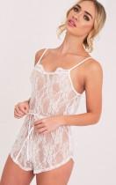 90d94fd30fe Sanny White Lace Teddy Nightsuit - Nightwear   Onesies - PrettylittleThing  AU