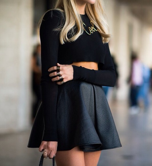 skirt sweater black, wool, crop, long sleeves