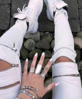 pants white zipped pants