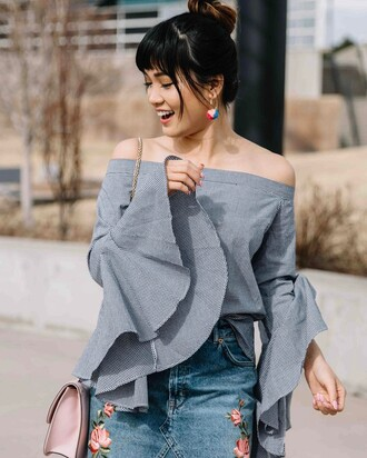 top tumblr checkered shirt checkered bell sleeves off the shoulder off the shoulder top skirt denim skirt blue skirt embroidered embroidered denim skirt bag pink bag earrings accessories accessory spring outfits rose embroidered