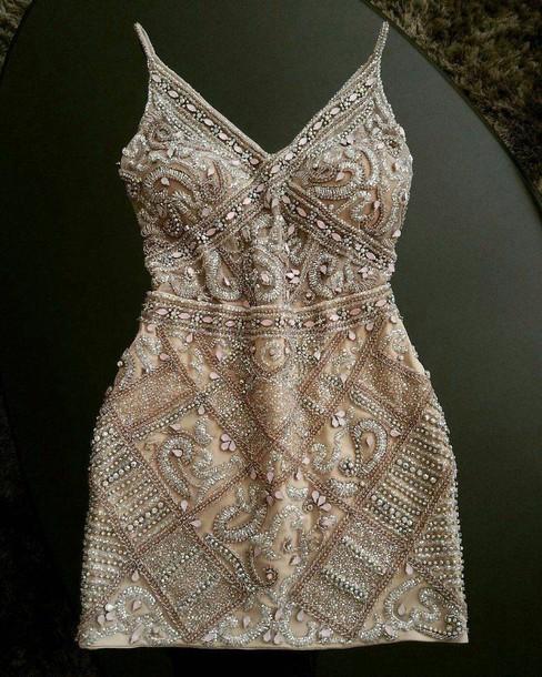 dress gold sequin dress homecoming dress beads gold sequins spaghetti straps dress short dress short homecoming dress