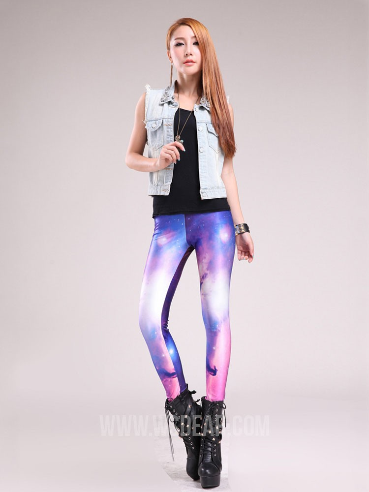 Slim street style rainbow digital printed leggings