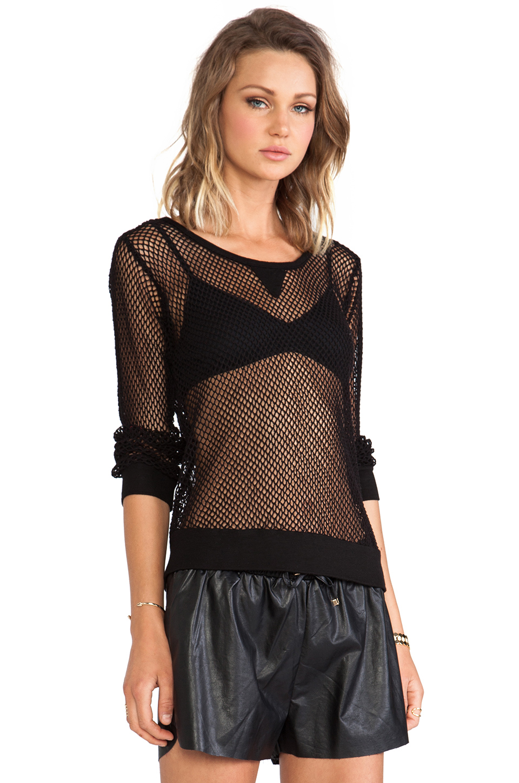 MONROW Fishnet Mesh Sweatshirt in Black | REVOLVE