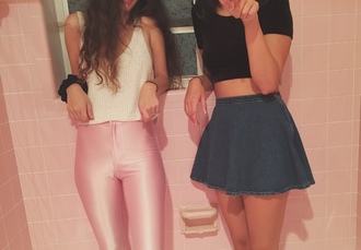 pink pants white tank white tank top black crop top denim skirt tight pants