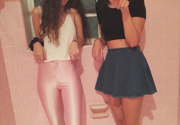 pink pants white tank white tank top black crop top denim skirt tight pants