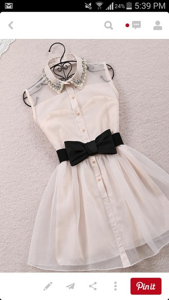 dress black bow pearl adorable short
