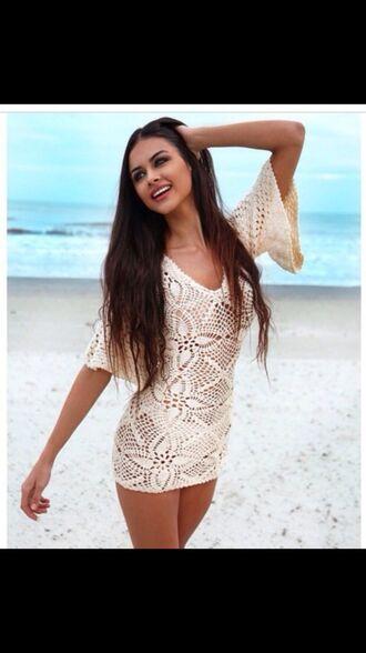 dress summer beach cover up tan white crochet knitted bikini