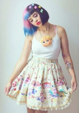 skirt unique style pastel yellow melanie martinez circus