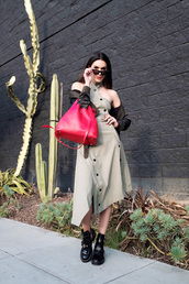 dress,tumblr,asymmetrical,asymmetrical dress,green dress,button up,bag,red bag,boots,black boots,ankle boots