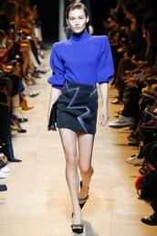 skirt,sweater,turtleneck,turtleneck sweater,runway,mugler,mini skirt,Paris Fashion Week 2017,fashion week 2017