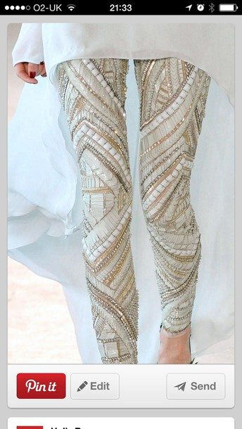 leggings embellished jewels fashion pearls beaded wedding dresses beaded trendy texture