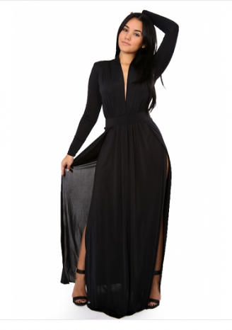 Classic Black High Slit dress