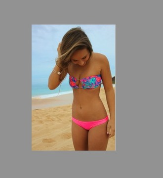 swimwear bandeau summer pink bottoms flower top cute cute bikini pink/purple turquoise cheeky bikini