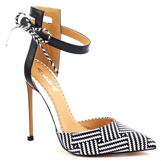 shoes heels chevron tribal pattern geometric black