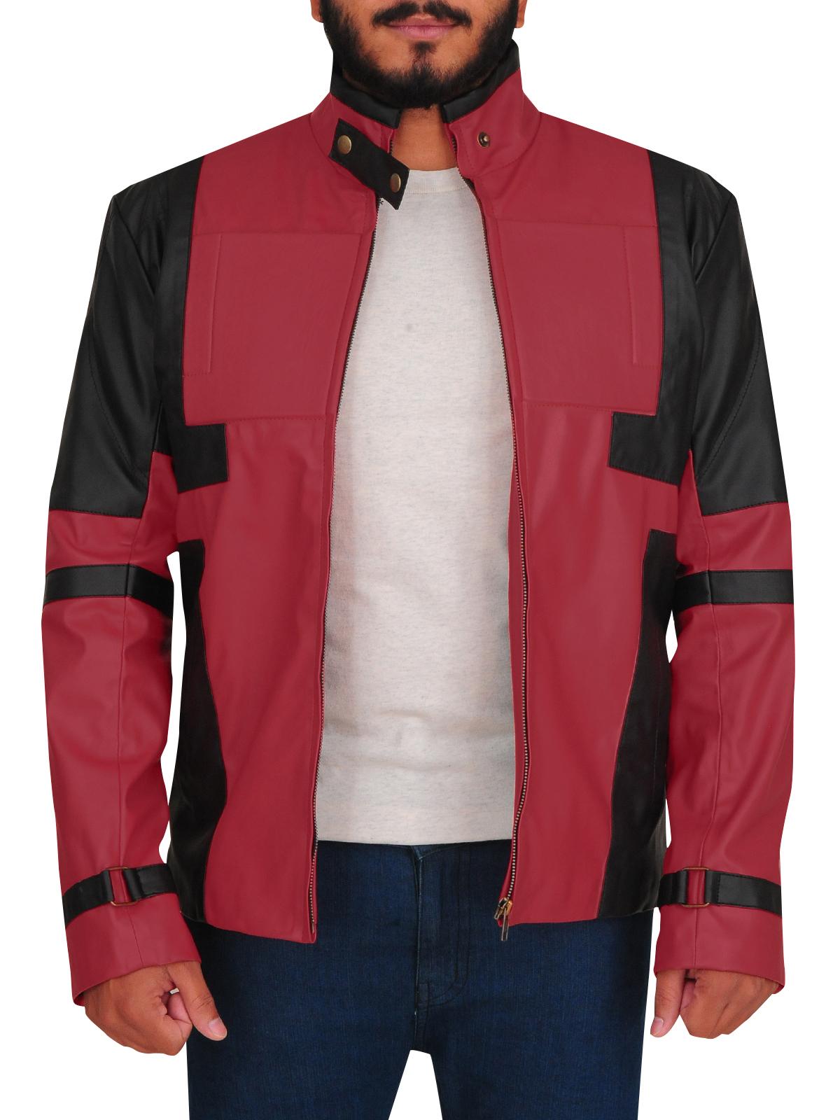 Red & Black Biker Leather Jacket Men   Men Jackets   MauveTree