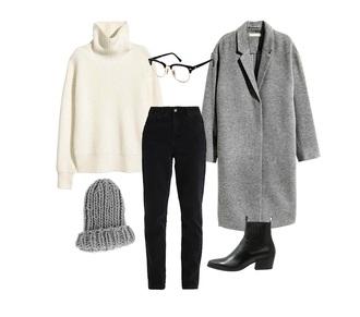 jestem kasia blogger coat jeans sweater shoes hat grey coat turtleneck sweater beanie ankle boots black jeans