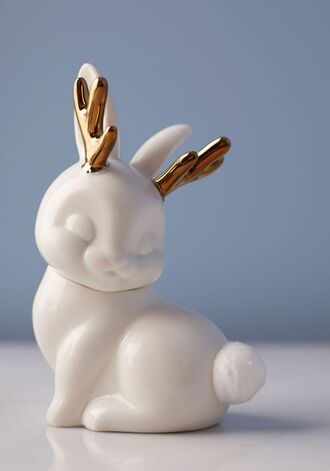 home accessory gold metallic white cute bunny metallic home decor bathroom
