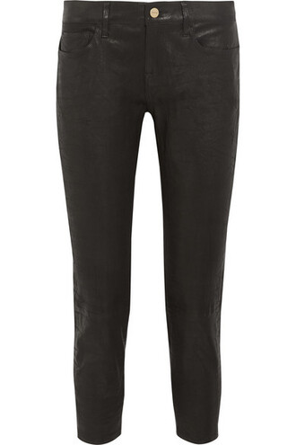 pants cropped boyfriend leather black