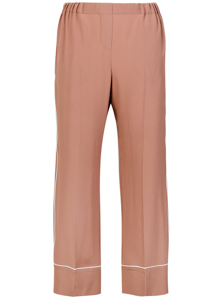 No21 cropped women silk purple pink pants