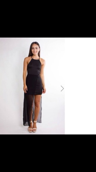 dress little black dress black dress lace dress mesh dress halter neck