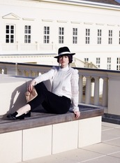 like a riot,blogger,blouse,belt,hat,crochet,black and white,loafers,black loafers,black pants,white blouse