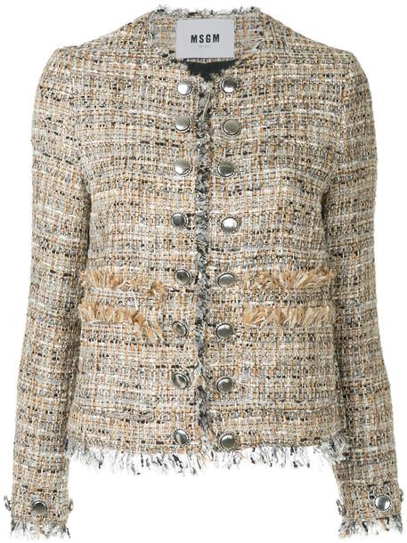 MSGM - frayed edge fitted jacket - women - Silk/Cotton/Acrylic/Virgin Wool - 40, Brown, Silk/Cotton/Acrylic/Virgin Wool