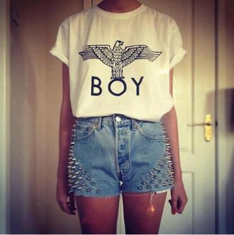 t-shirt clothes swag shorts boy london boy high waisted shorts studs pants london boy hipster tomboy shirt shirt white eagle birds hot tumblr love top tank top jeans black and white studded high waist shorts forever 21 spiked shorts demin shorts blouse celebrity beautiful baggy studded shorts grunge punk skater boyfriend tshirt white shirt