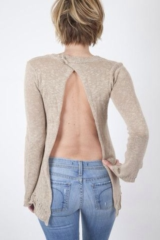 shirt open back sweater open back top