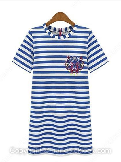 Blue Round Neck Short Sleeve Striped Tiger Pattern Embellished Dress - HandpickLook.com