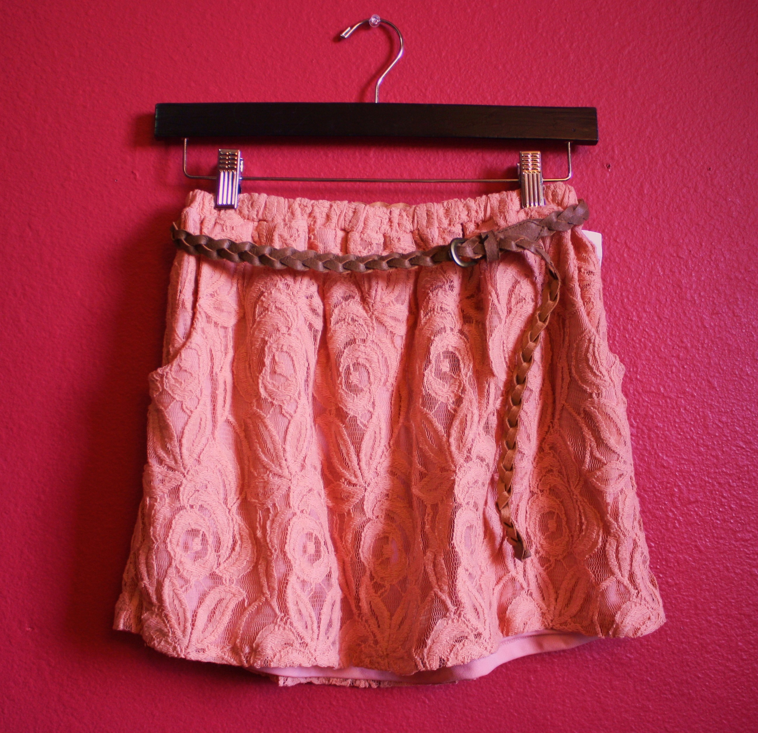 Pink floral lace skirt w/ belt from cutesy closet on storenvy