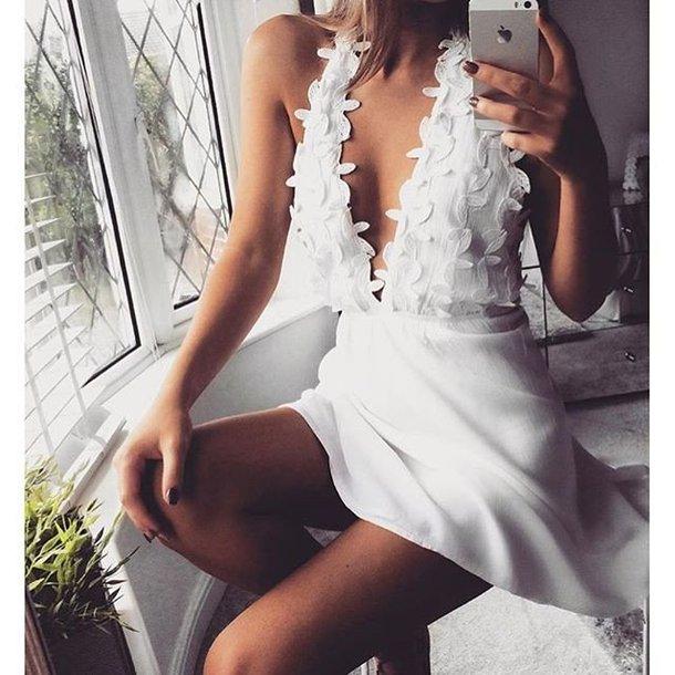 dress white white dress flowers white lace flower dress