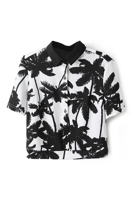 Palm Print Midriff Shirt | Pariscoming