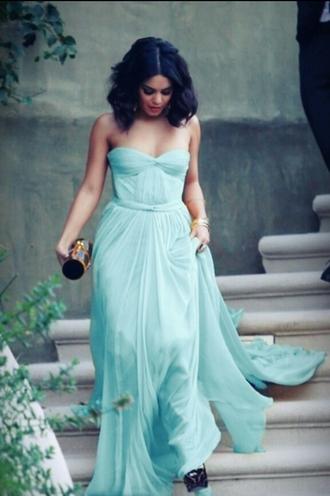 dress celebrity flowy vanessa hudgens turquoise prom dress