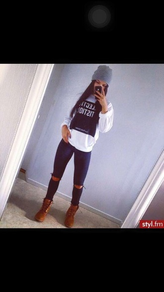 sweater white top blogger celebrity style ripped jeans chanel t-shirt hat