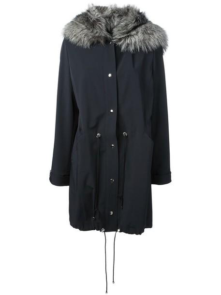 parka fur fox women blue coat