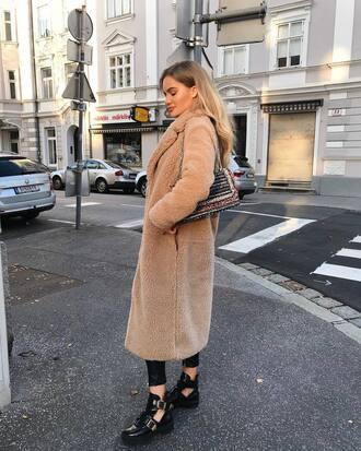 coat tumblr teddy bear coat fuzzy coat camel camel coat camel long coat long coat boots black boots ankle boots