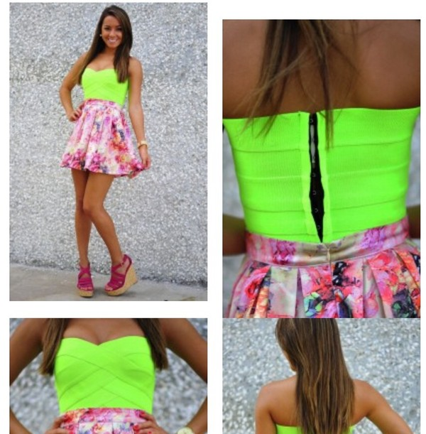 shirt crop tops neon neon crop top bandage dress skirt floral skirt high heels wedges shoes