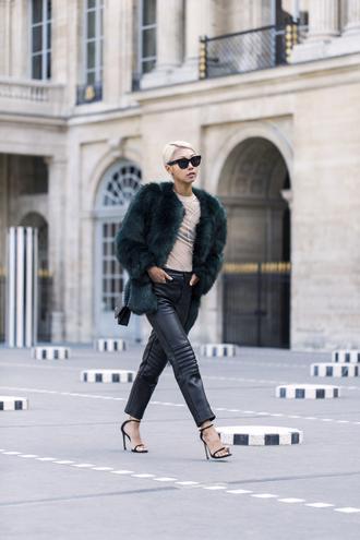 the haute pursuit blogger sunglasses coat top pants shoes bag