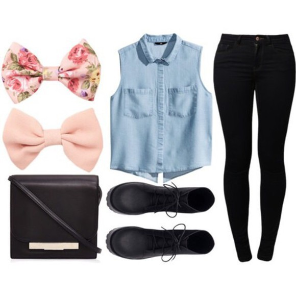 hair bow top bottom outfit