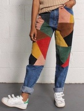 jeans,colorful,geomtric,retro,old school,pattern,pants,multicoloured jeans,corduroy