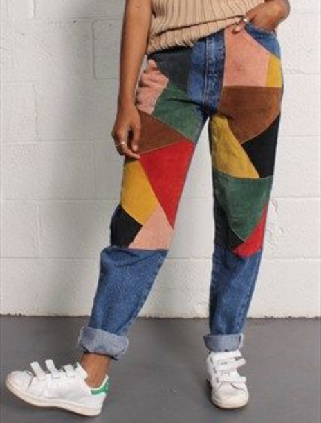 jeans colorful geomtric retro old school pattern pants multicoloured jeans corduroy